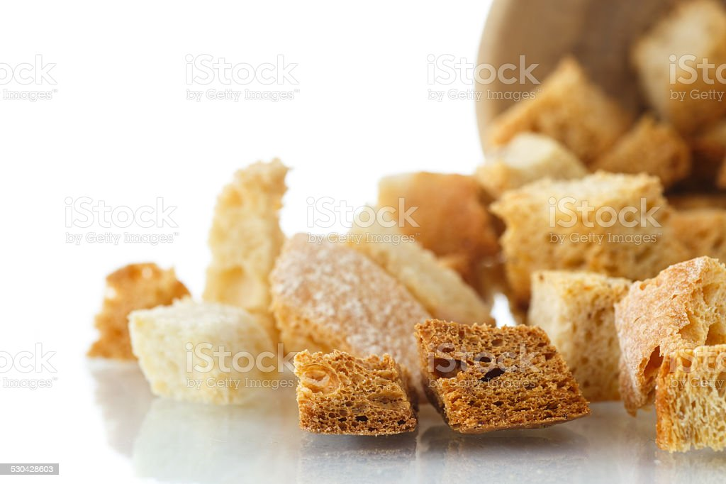 homemade fried croutons of bread stock photo