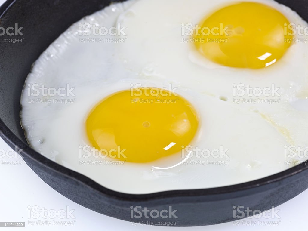 Homemade fried eggs royalty-free stock photo