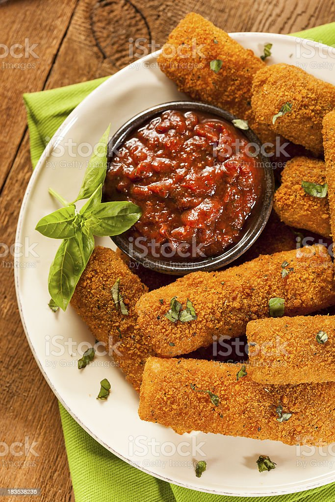 Homemade Fried Mozzarella Sticks royalty-free stock photo