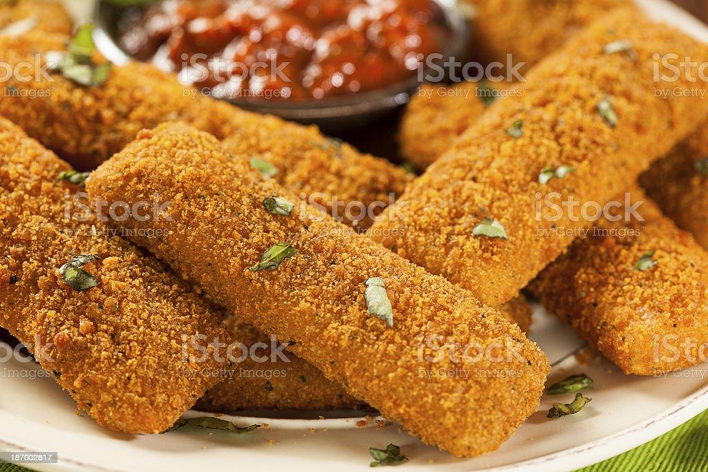 Homemade Fried Mozzarella Sticks stock photo