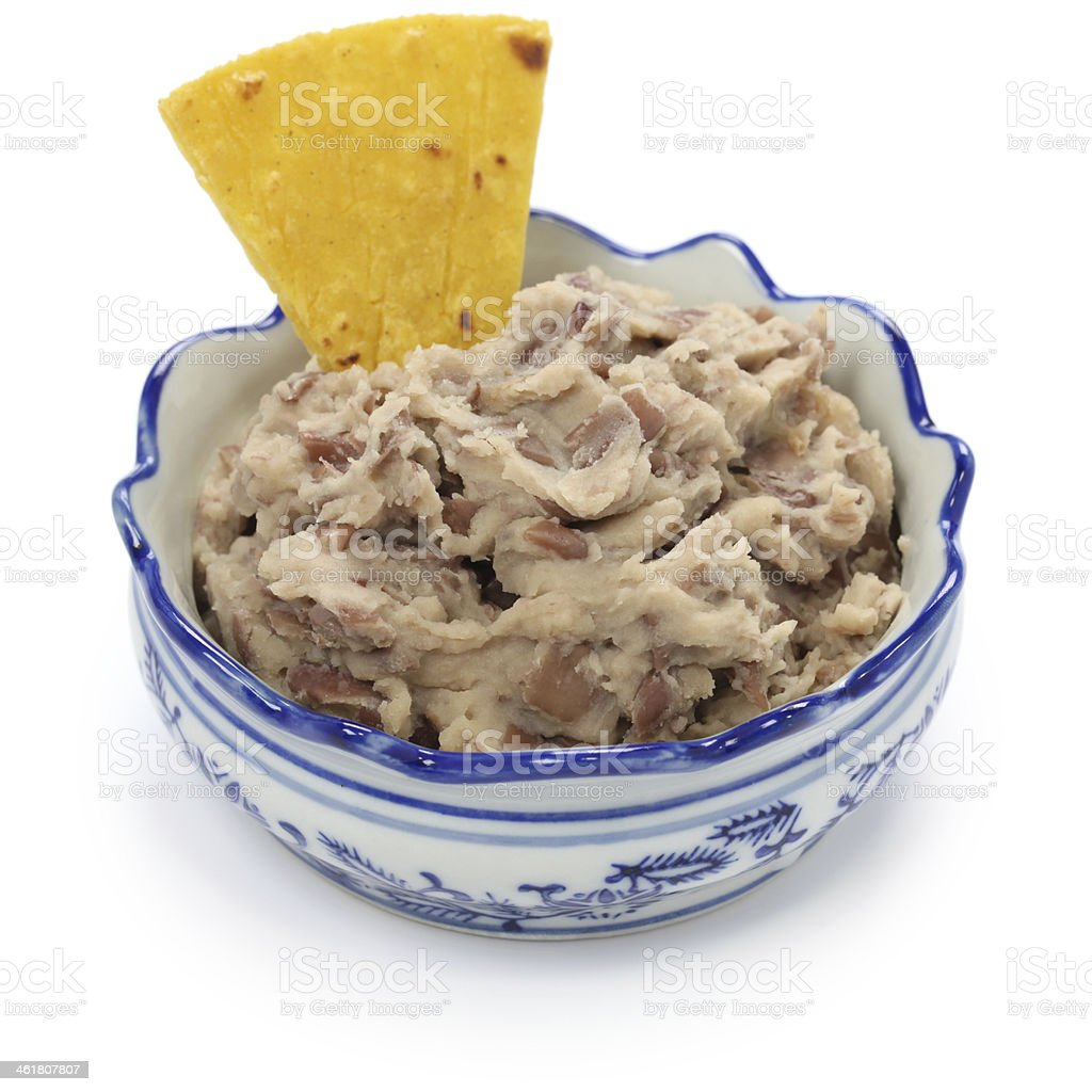 homemade frijoles with tortilla chips stock photo