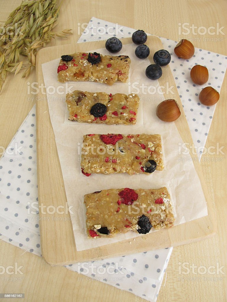 Homemade fruit bars with dried fruits, oatmeal, nuts and coconut stock photo