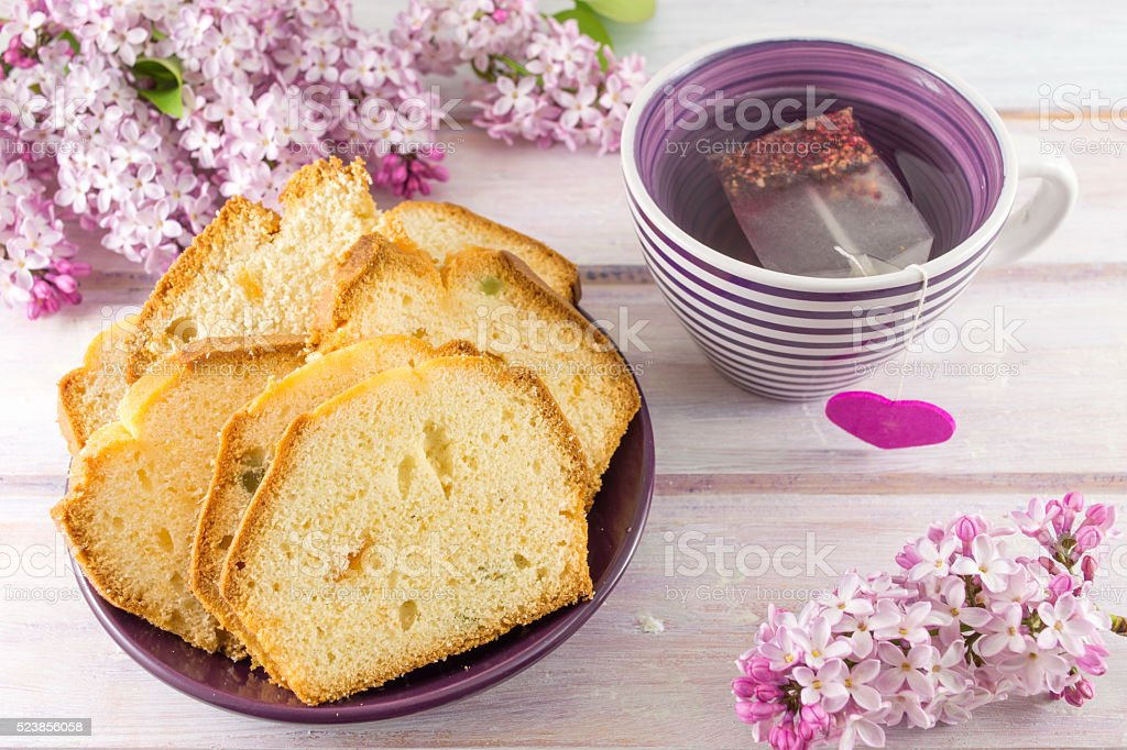 Homemade fruit bread with tea stock photo