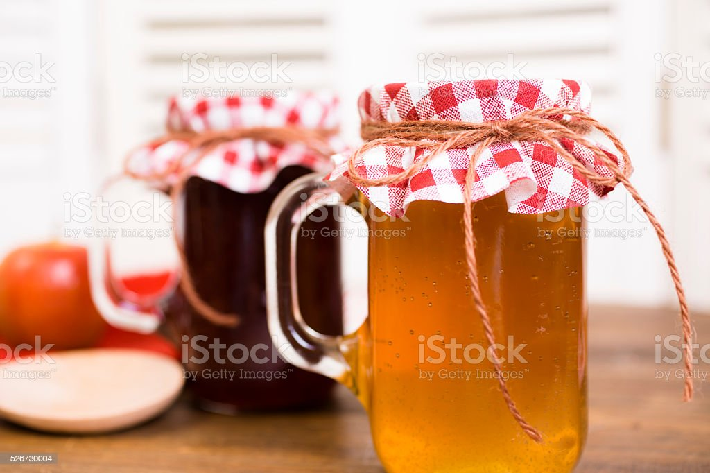 Homemade fruit jam, jelly in jars. Apples. stock photo