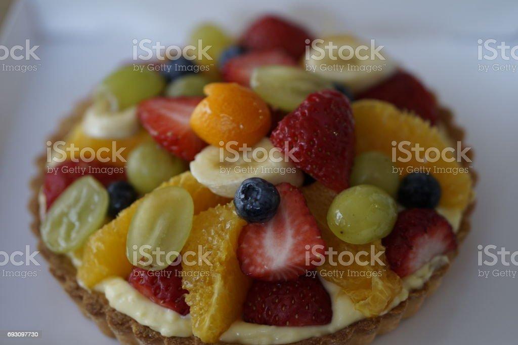 Homemade fruit tart stock photo