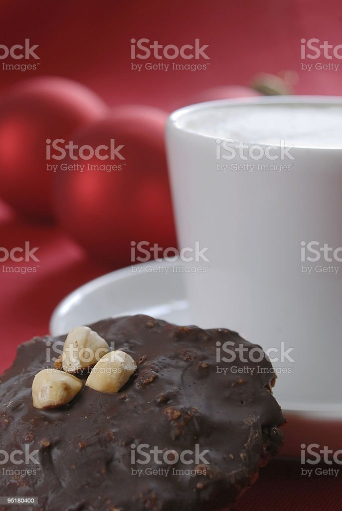 Homemade German Lebkuchen and a cup of coffee royalty-free stock photo