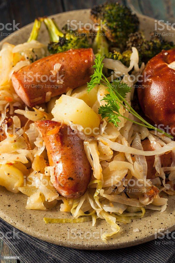 Homemade German Sausage and Sauerkraut stock photo