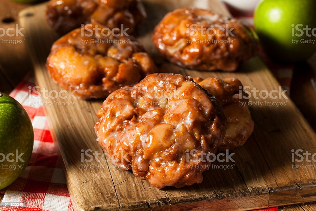 Homemade Glazed Apple Fritters stock photo