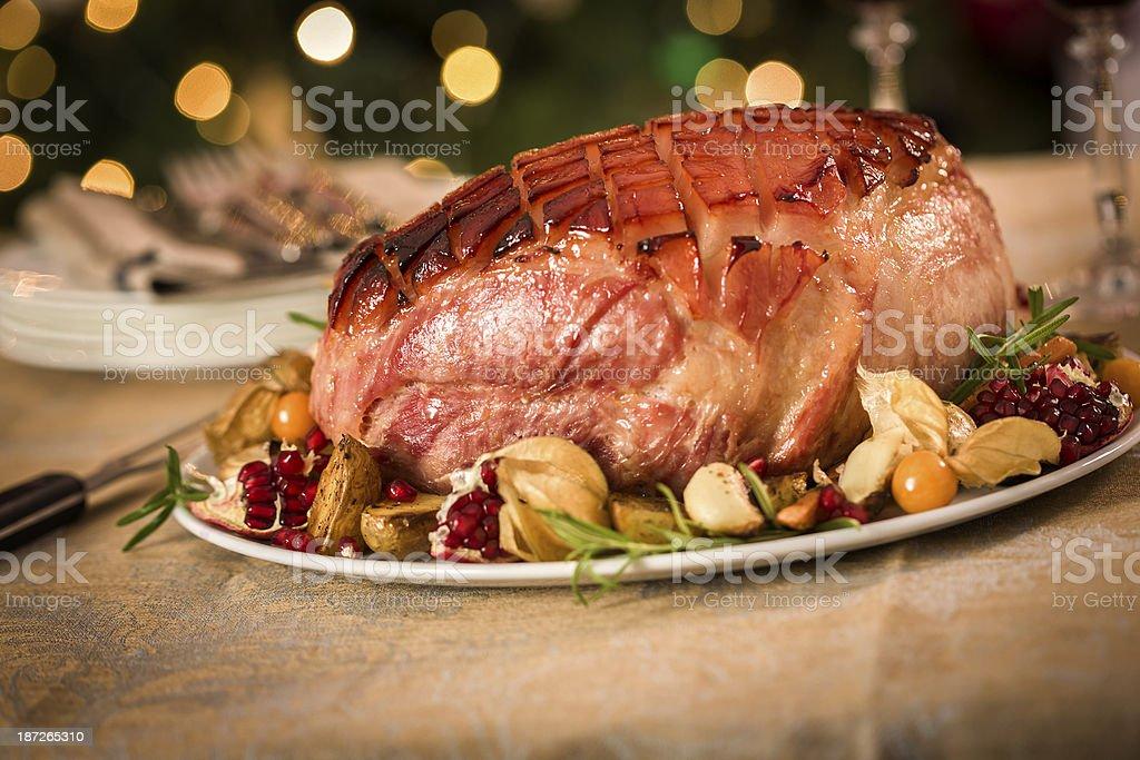 Homemade Glazed Holiday Ham Dinner royalty-free stock photo