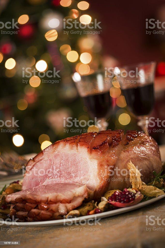 Homemade Glazed Holiday Ham Dinner stock photo