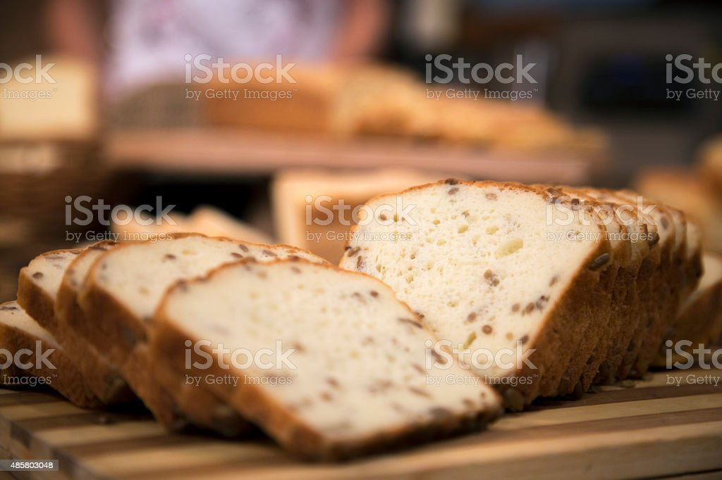 Homemade gluten free bread with flax seeds. stock photo