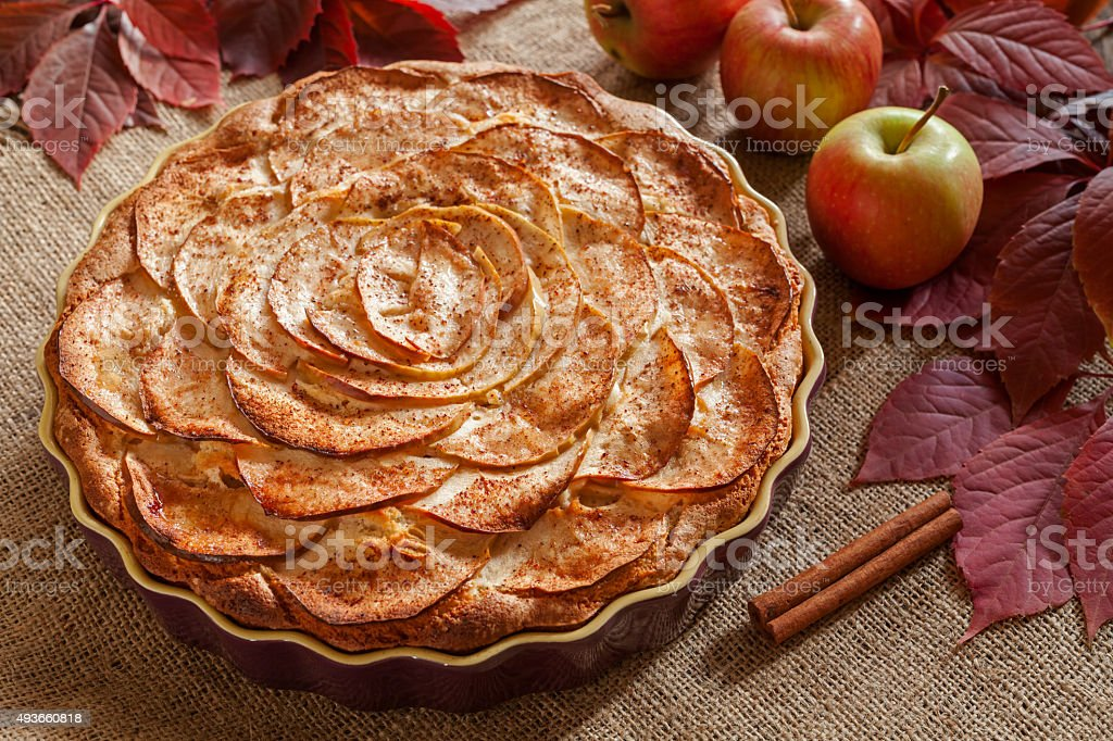 Homemade gourmet apple pie baked sweet traditional dessert with...