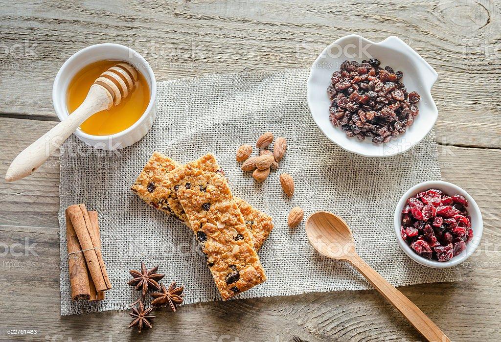 Homemade granola bars on the sackcloth stock photo