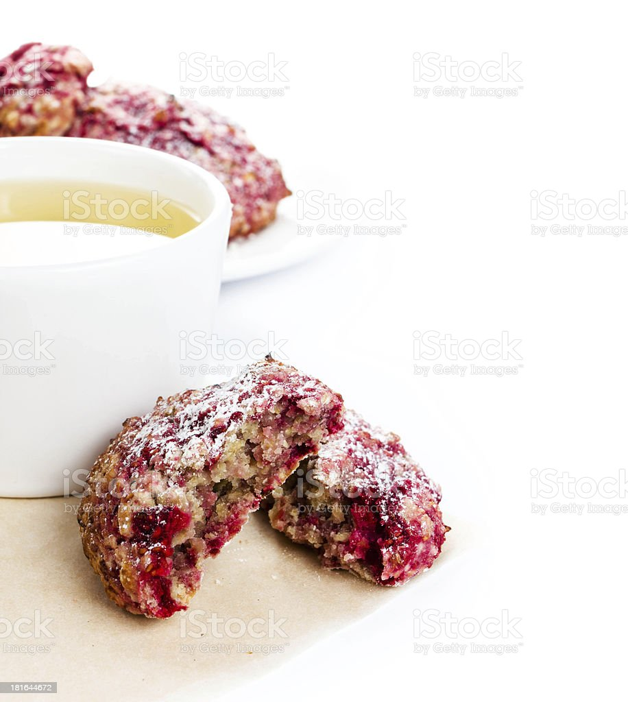 Homemade Granola cookie with oatmeal and raspberry ob white back royalty-free stock photo