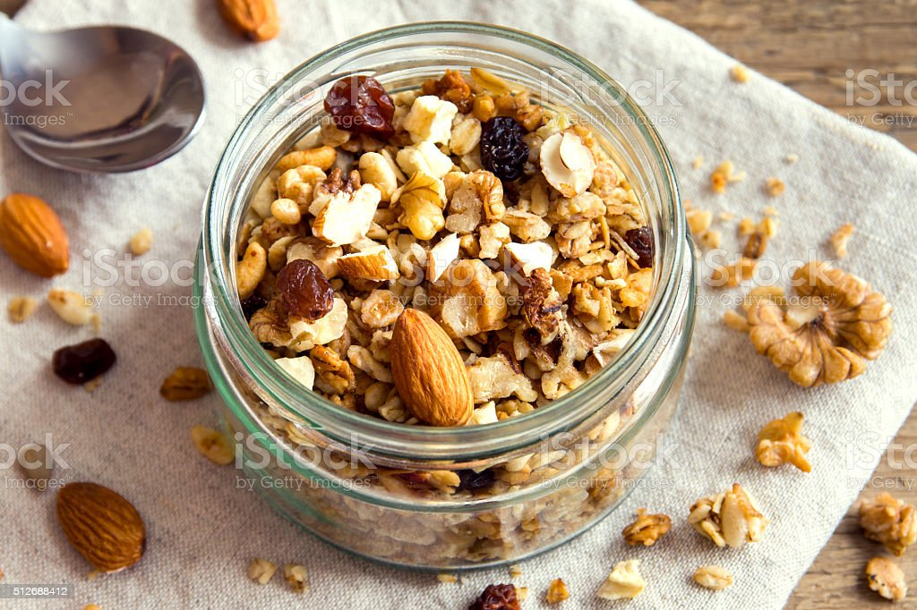 Homemade granola with nuts stock photo