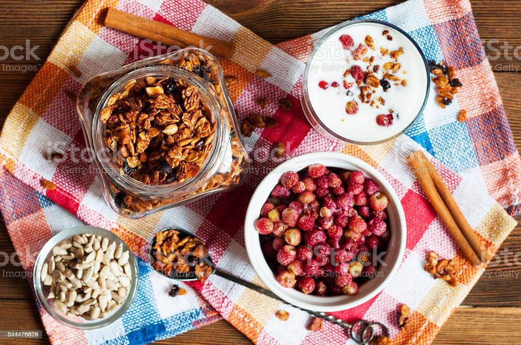 Homemade granola with wild strawberries and yogurt stock photo