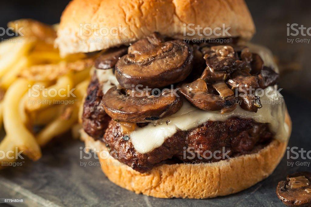 Homemade Grassfed Mushroom and Swiss Cheese Hamburger stock photo