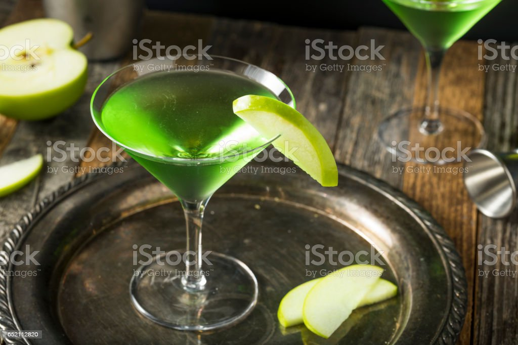 Homemade Green Alcoholic Appletini Cocktail stock photo