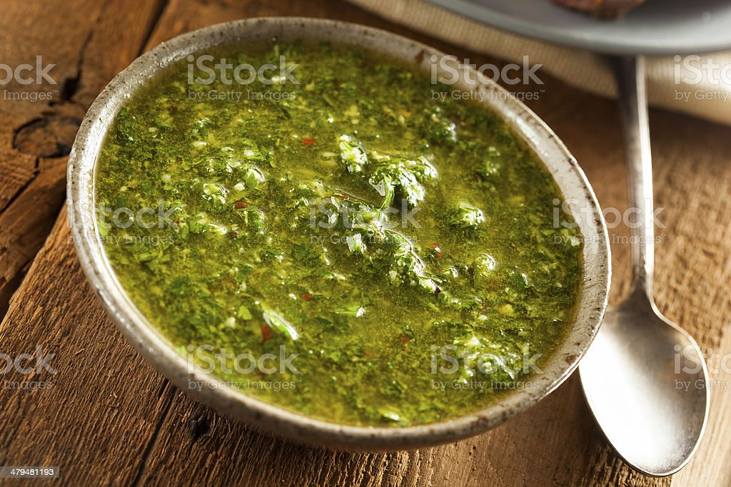 Homemade Green Chimichurri Sauce stock photo