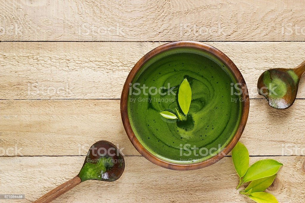 homemade green tea, refreshing for health on wooden background stock photo