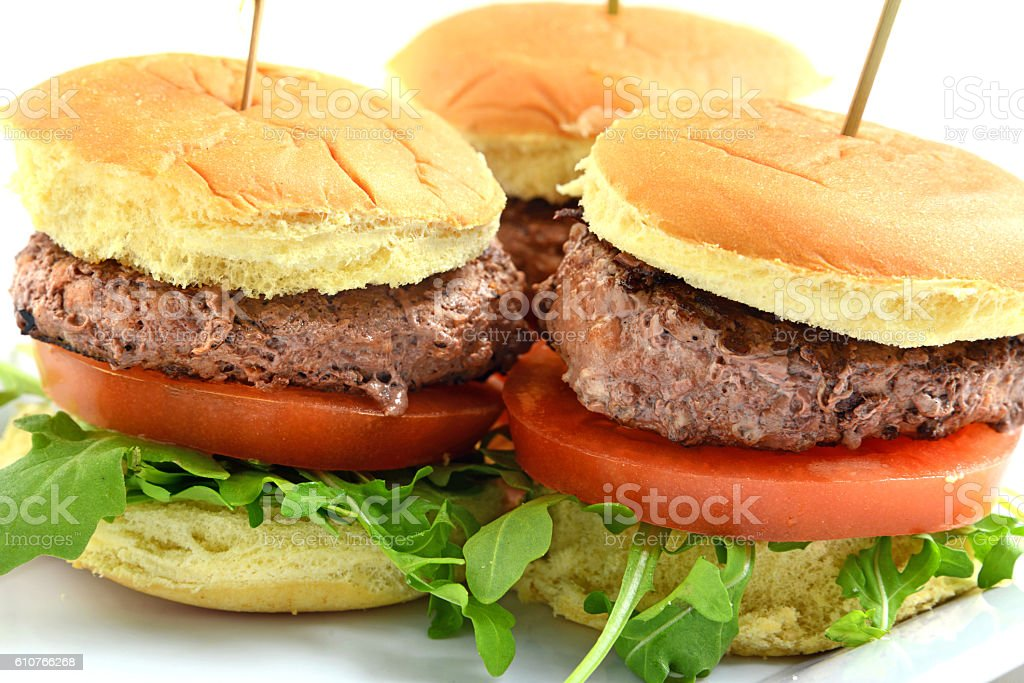 Homemade Grilled Beef Mini burgers stock photo