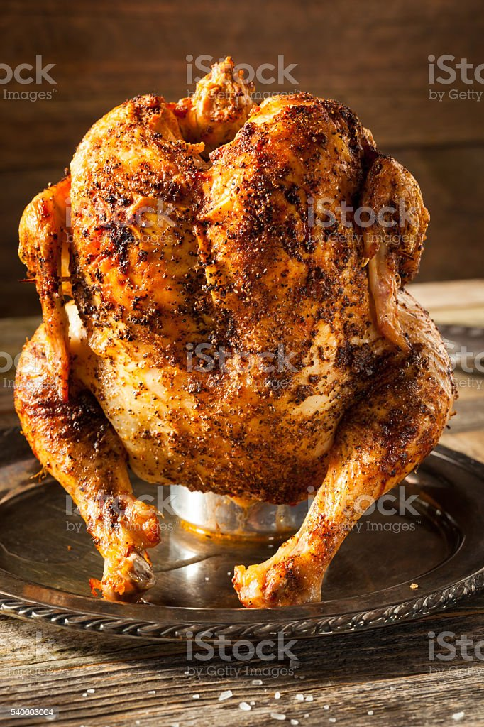 Homemade Grilled Beer Can Chicken stock photo