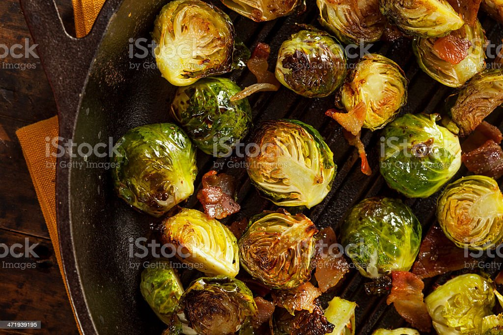 Homemade grilled Brussels sprouts stock photo