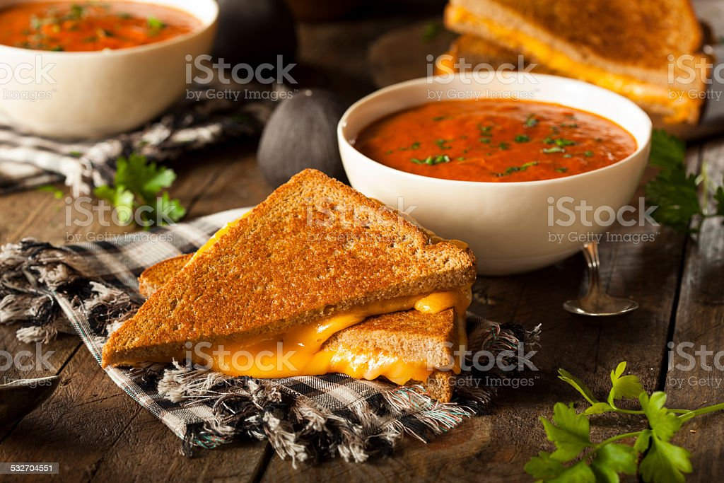 Homemade Grilled Cheese with Tomato Soup stock photo