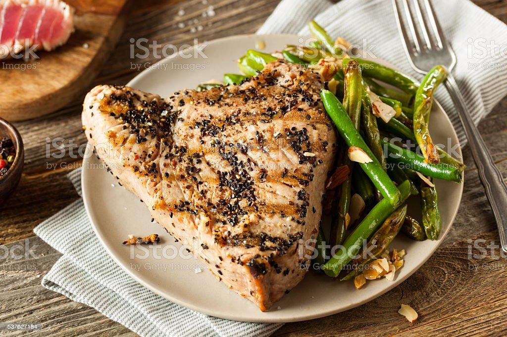Homemade Grilled Sesame Tuna Steak stock photo