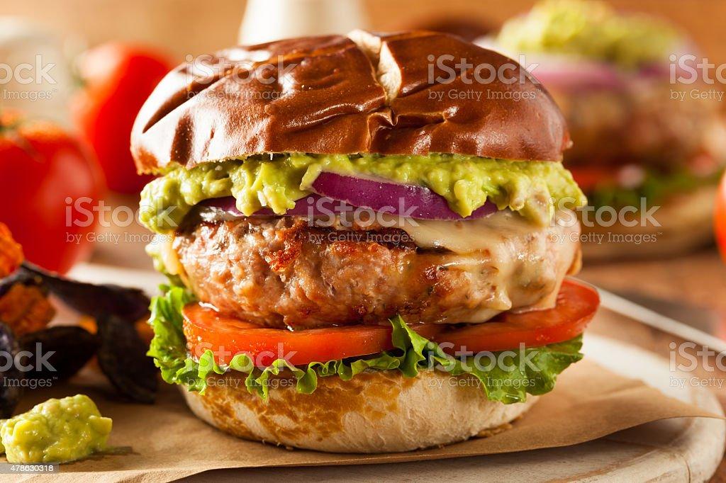 Homemade Healthy Turkey Burgers stock photo