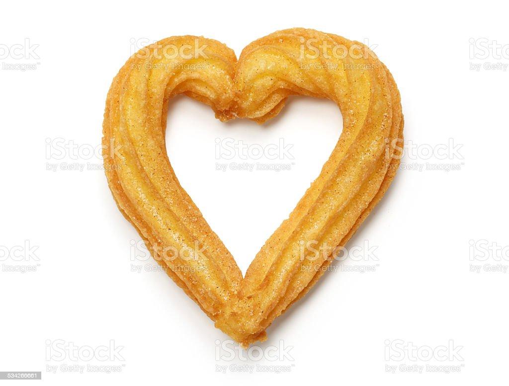 homemade heart shape churro stock photo