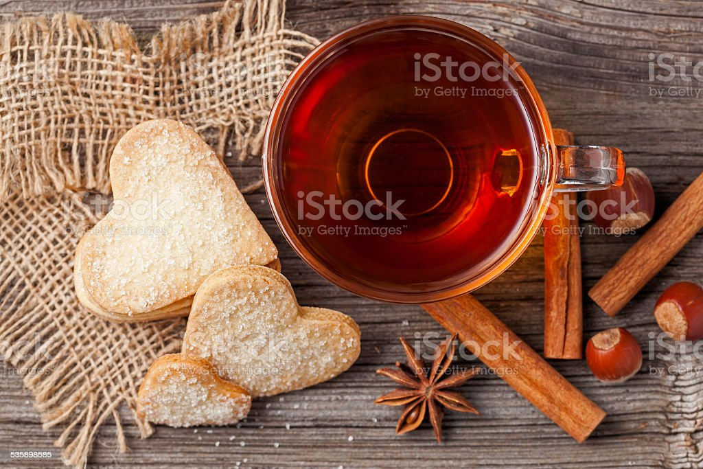 Homemade heart shaped cookies gift for valentines day holiday stock photo