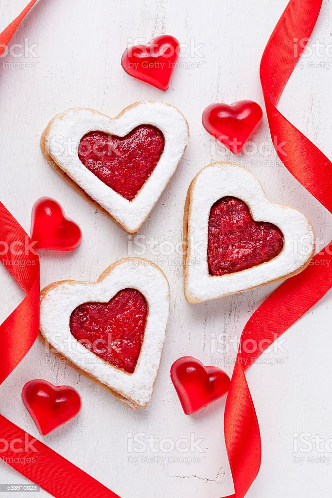 Homemade heart shaped cookies gift with jam for valentines day stock photo