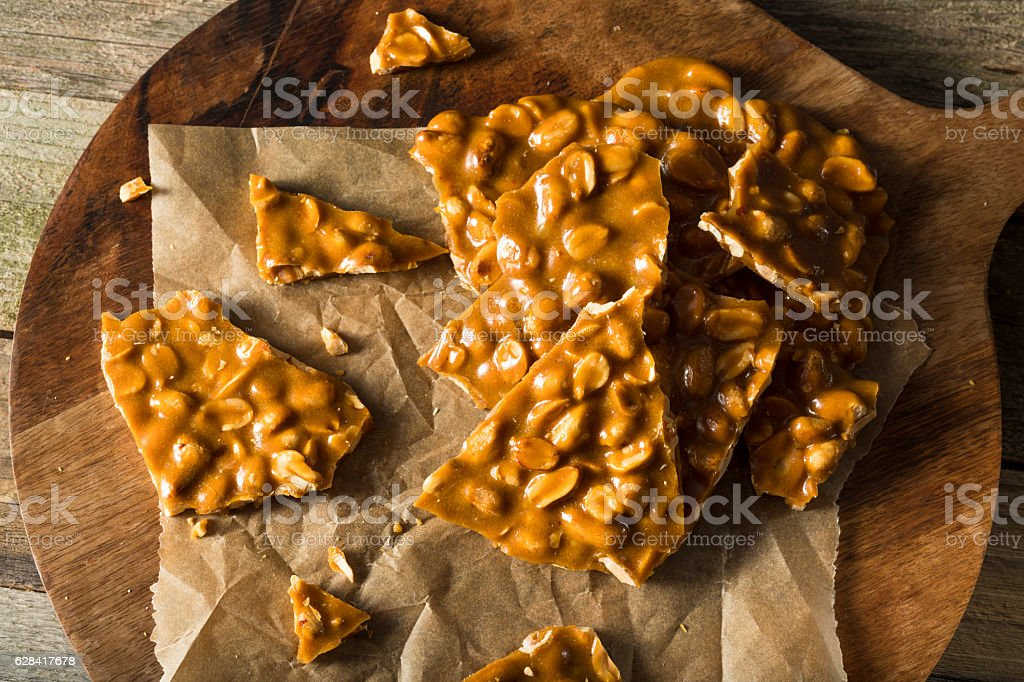 Homemade Holiday Peanut Brittle stock photo