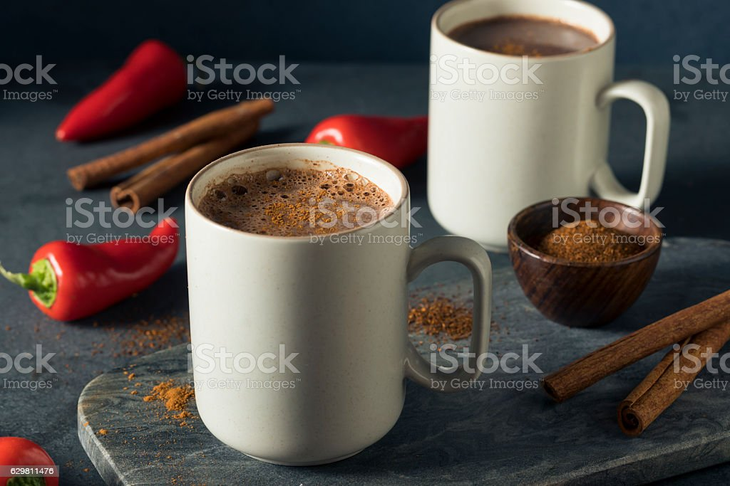 Homemade Holiday Spicy Mexican Hot Chocolate stock photo