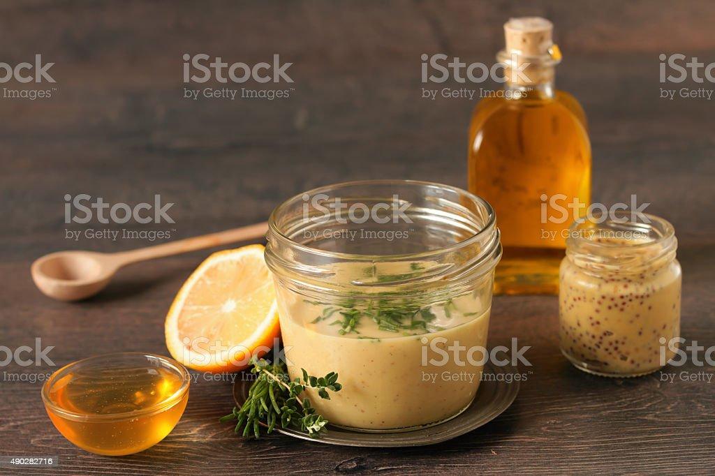 Homemade honey mustard dressing stock photo