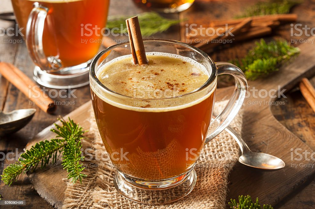 Homemade Hot Buttered Rum stock photo