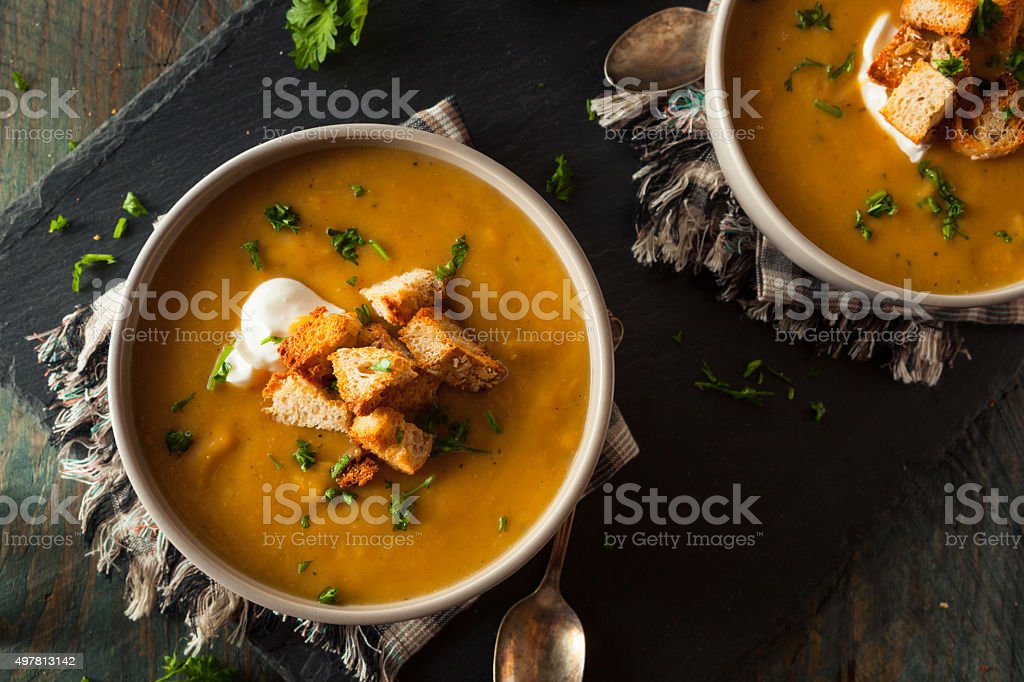 Homemade Hot Butternut Squash Soup stock photo