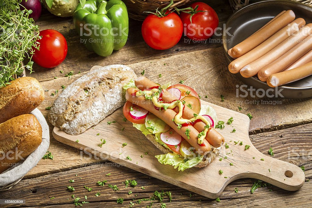Homemade hot dog with sausages royalty-free stock photo