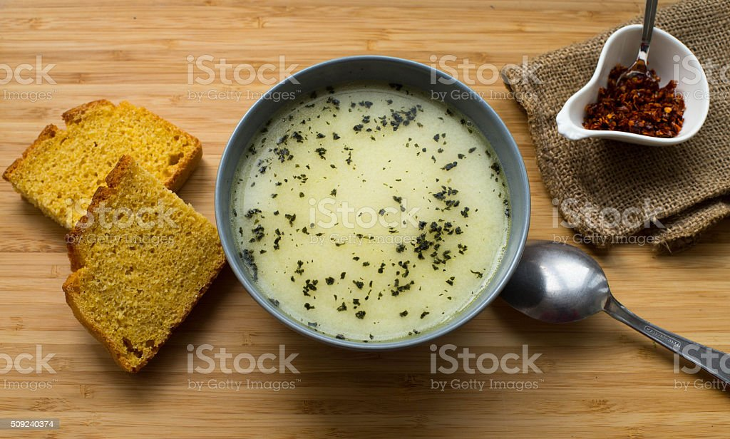 Homemade hot soup in a bowl stock photo