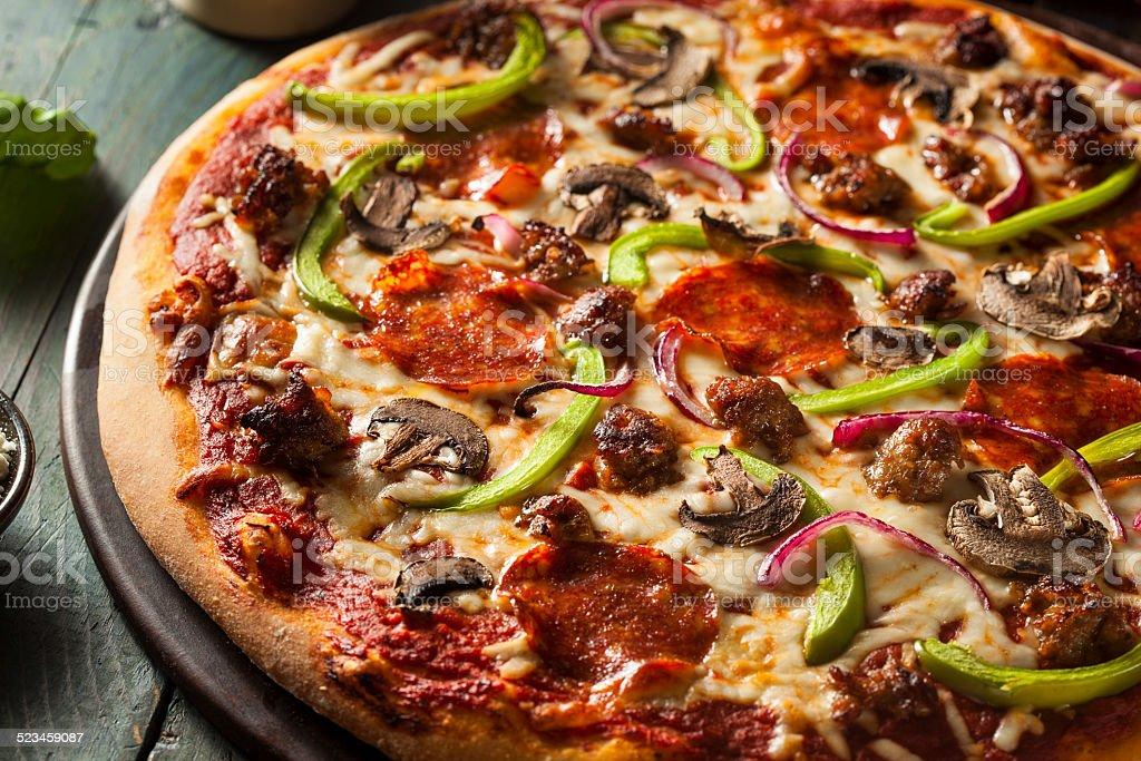 Homemade Hot Supreme PIzza stock photo