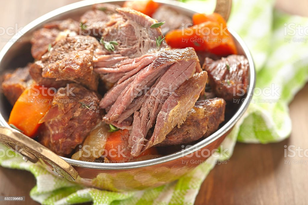 Homemade Irish Beef Stew with Carrots stock photo