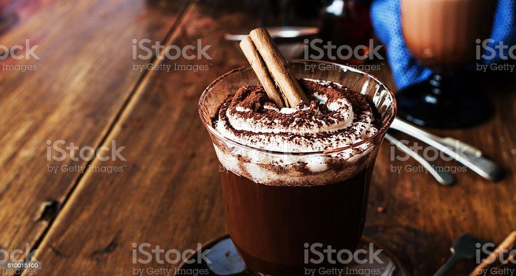 Homemade Irish Coffee with cinnamon and Whipped Cream stock photo