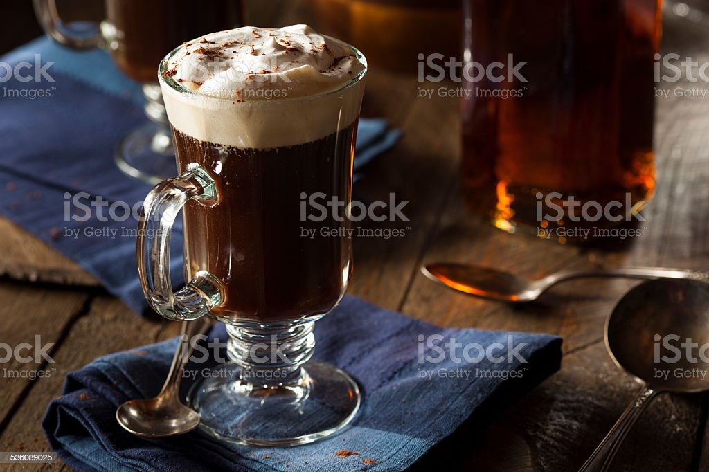 Homemade Irish Coffee with Whiskey stock photo