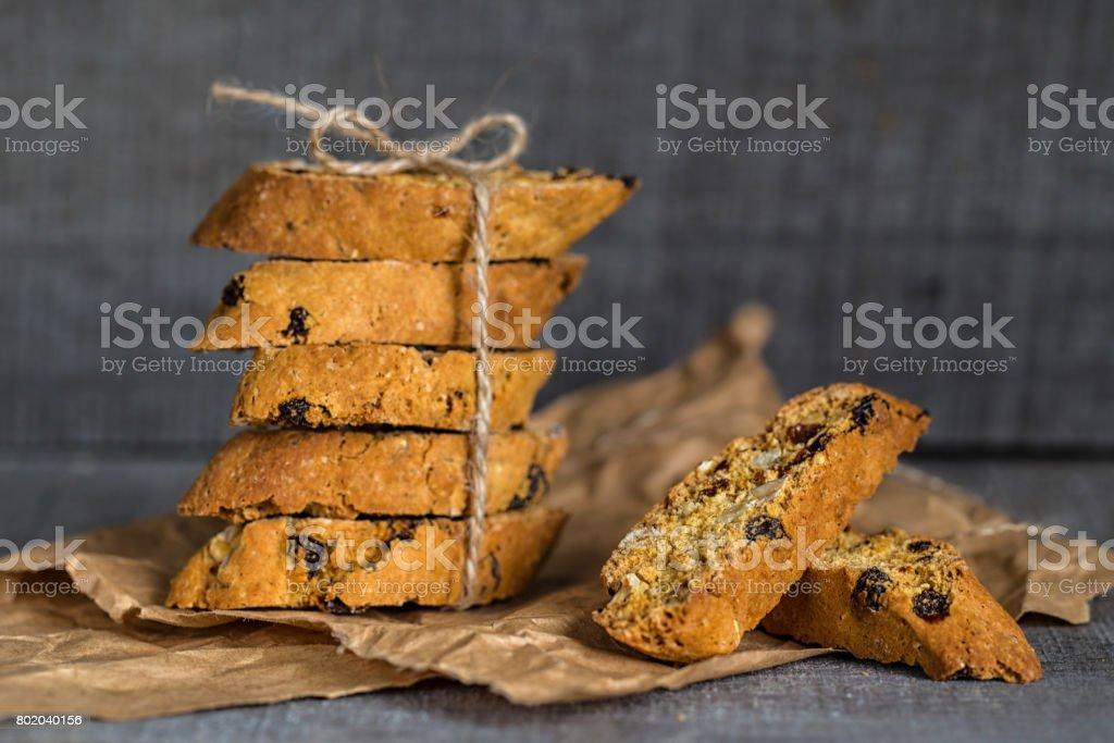 Homemade Italian biscotti stock photo