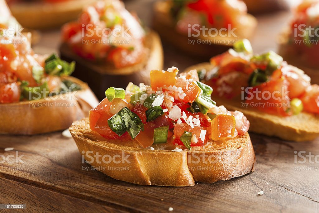 Homemade Italian Bruschetta Appetizer stock photo