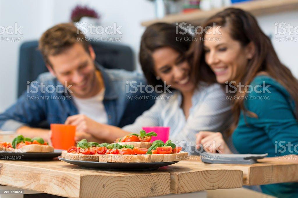 Homemade italian bruschetta stock photo