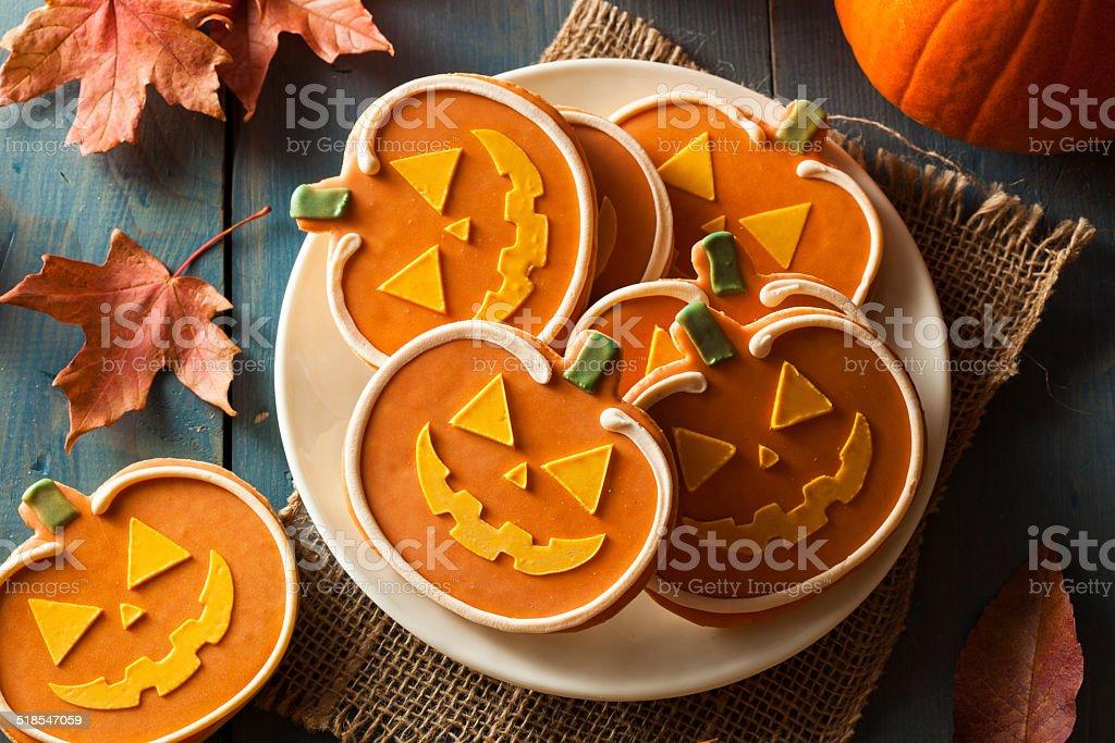 Homemade Jack O'lantern Pumpkin Cookie stock photo