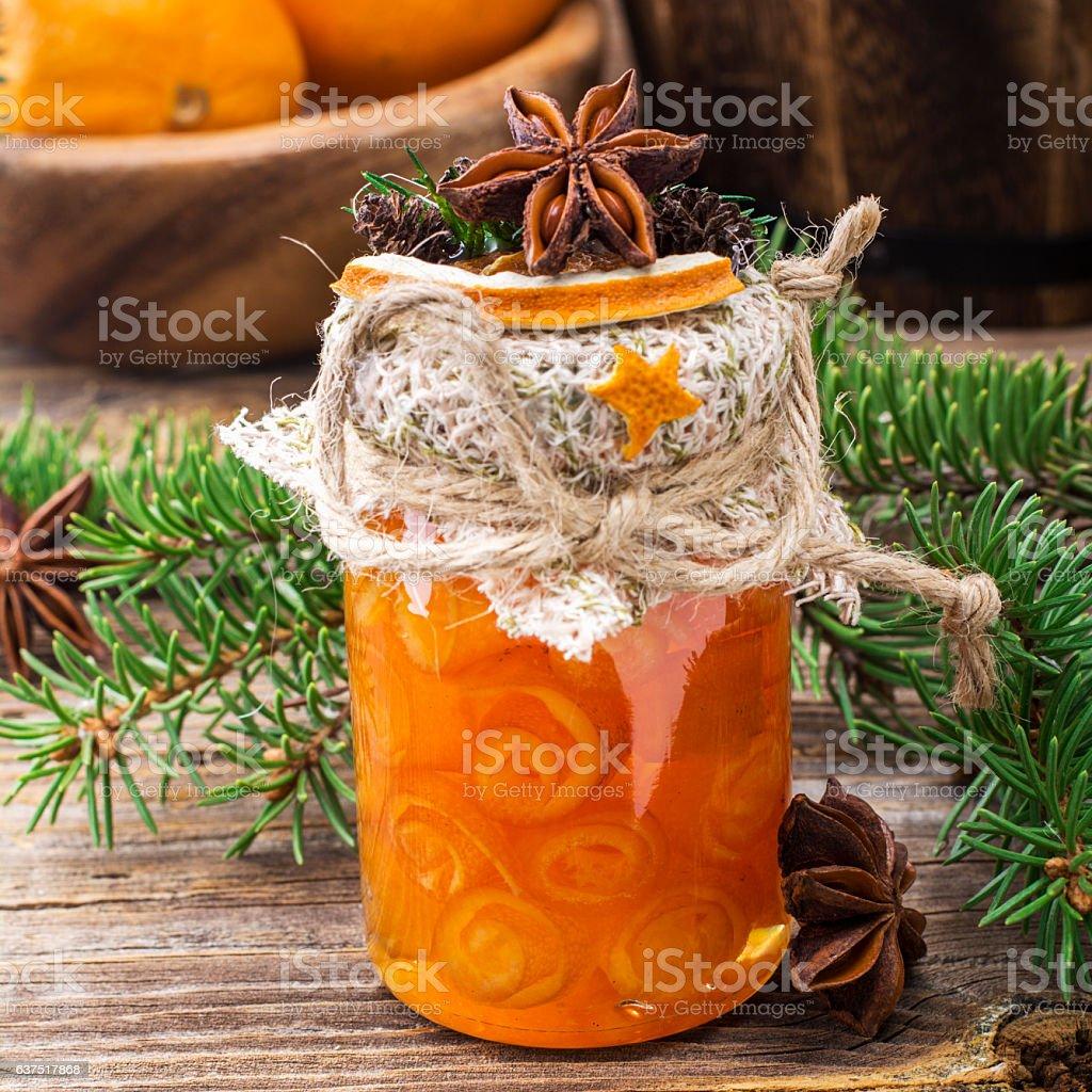 Homemade jam handmade orange peel in the form of snails stock photo