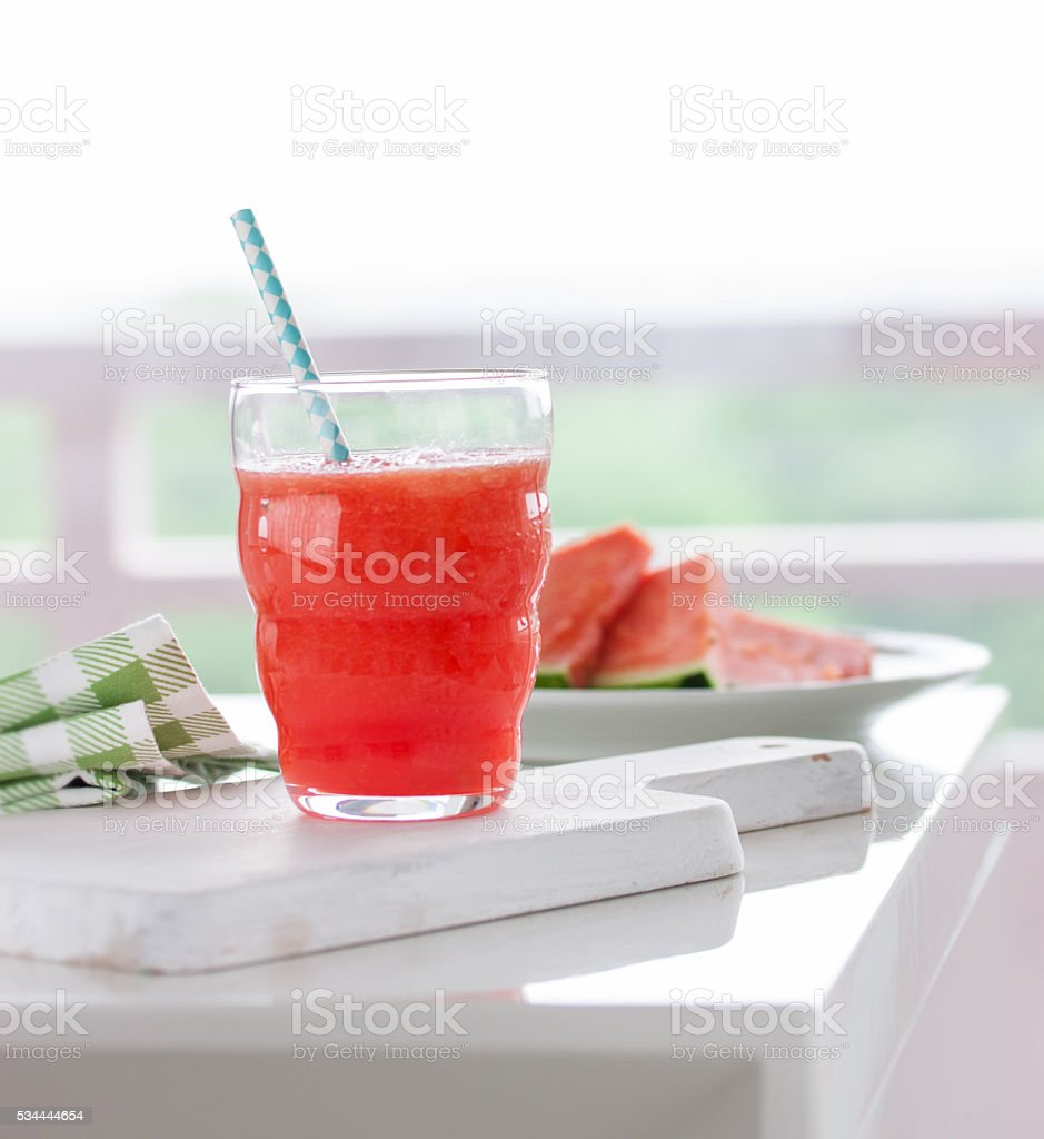 Homemade juicy cold drink with watermelon and water stock photo